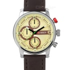 CURREN Men's Fashionable PU Leather Wristband Analog Quartz Watch - Beige + Brown (1 x 626)