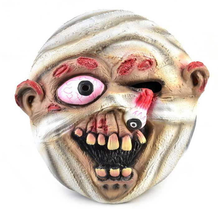 Horrible Eyeball Popped out Mummy Rubber Mask for Cosplay Party - Red