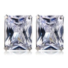Xinguang Square Crystal Earrings for Women - Silver