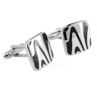 Square Moire Patterned Men's Cufflinks - Silver + Black (Pair)