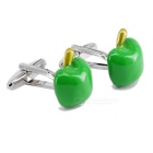 Green Apple Shaped Men's Cufflinks - Silver + Green  (Pair)