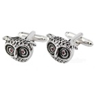 Owl Modelling Men's Cufflinks - Silver + Black (Pair)