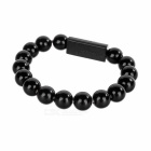 USB 2.0 M to Micro 5-Pin Beads Bracelet Charging Cable - Black