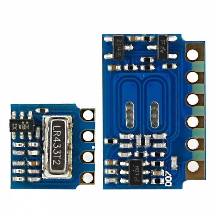 Mini RF Transmitter Receiver Module 433MHz Link Kit for ArduinoTransmitters &amp; Receivers Module<br>Form  ColorBlue + BlackModelN/AQuantity1 DX.PCM.Model.AttributeModel.UnitMaterialPCB + alloyFrequency433MHzWorking Voltage   3~12 DX.PCM.Model.AttributeModel.UnitWorking Current3.5 DX.PCM.Model.AttributeModel.UnitEnglish Manual / SpecYesDownload Link   http://pan.baidu.com/s/1c0jXgeGOther FeaturesA product for Arduino that works with official Arduino boards.Packing List1 x 433MHz RF transmitter module1 x 433MHz RF receiver module1 x English user manual<br>