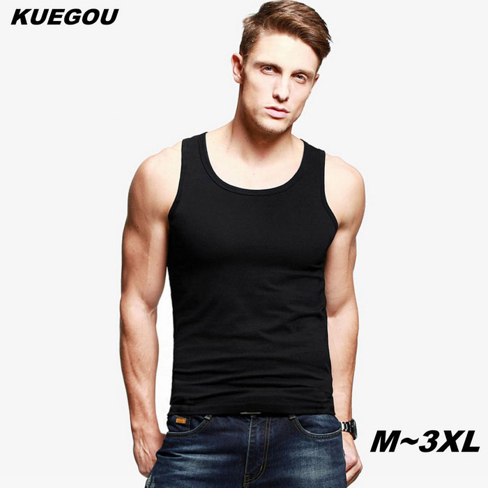 KUEGOU Men's Plain Colour Sports Vest T-Shirt - Black (3XL)