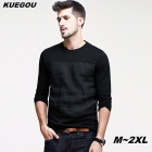 KUEGOU Men's Linen & Cotton Long Sleeve Black T-Shirts