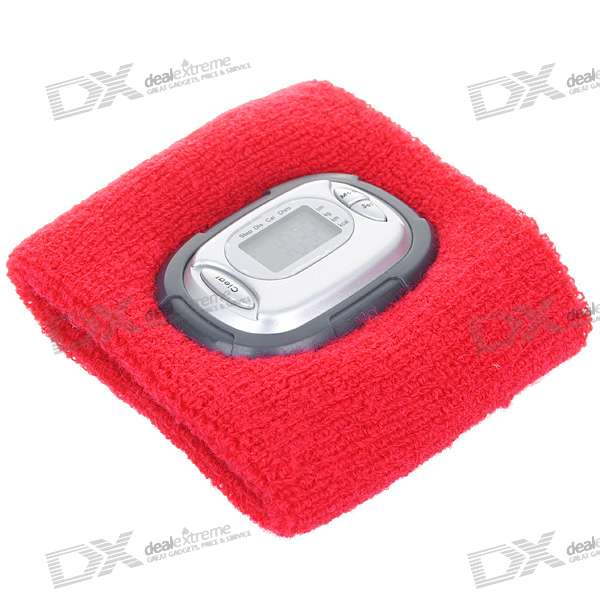 Sweatband Pedometer Wristwatch - Red (1*AG13 Included)