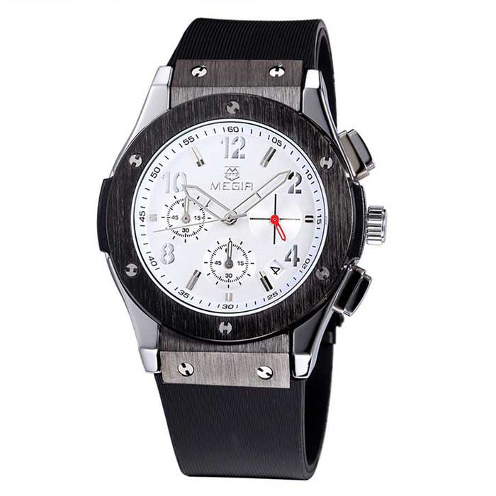 MEGIR Men's Multi-Function Waterproof Quartz Watch - Black + White