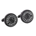 Men's Round Camera Button Design Cufflinks - Brownish Black (Pair)