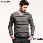 KUEGOU Men's Stripe V-Neck Long Sleeved Khaki  Sweater