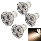Youoklight GU10 bombilla del proyector 3W blanco caliente 3000K 280lm 3-LED (4PCS)