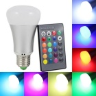 KINFIRE E27 9W 720lm LED RGB Light Bulb + 24 Key Infrared Remote Controller - Silver (AC 85~265V)