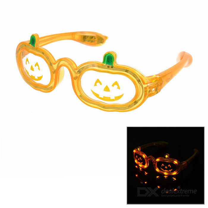 Pumpkin Style Cosplay Glasses w/ 12-LED Yellow Light - Orange