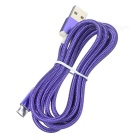V8 Micro USB 2.0 to USB Braided Nylon Data Sync & Charging Cable for Android Phones - Purple