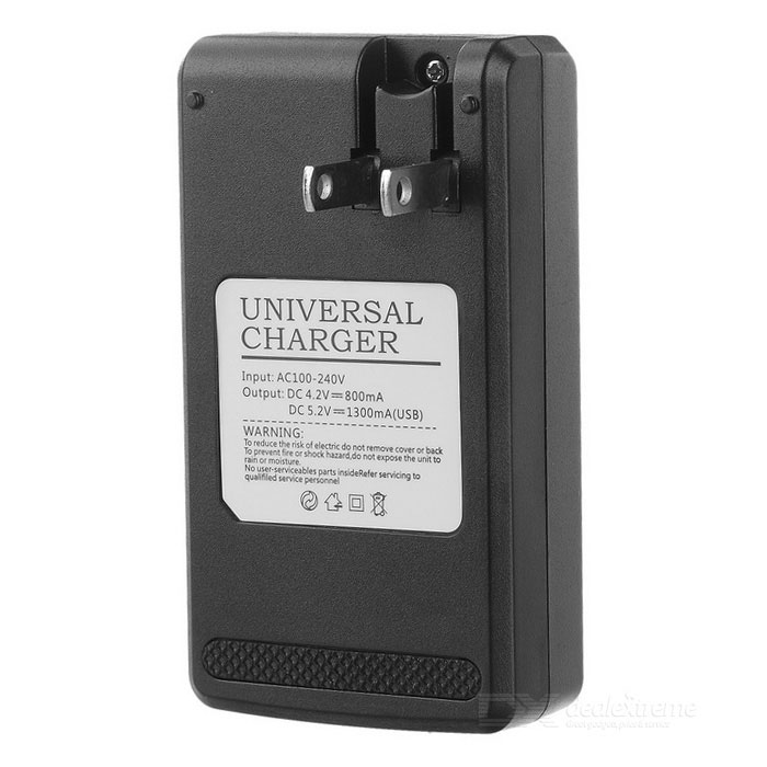 "Universal USB Travel Charger w / 0.8"" LCD - Schwarz (US Stecker)"