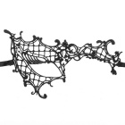 Fashion Elegant Hollow Out Lace Design Halloween Masquerade Party One Eye Mask - Black