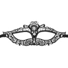 Fashion Elegant Hollow Out Lace Design Halloween Masquerade Party Cat Eye Mask - Black