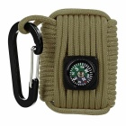 Outdoor Camping Equipment Survival Kit Paracord w/ Carabiner / Compass - Khaki