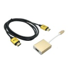 CY U3-316-GO / HD-112-1.8M USB 3.1 Adapter + HDMI Kabel - schwarz + golden