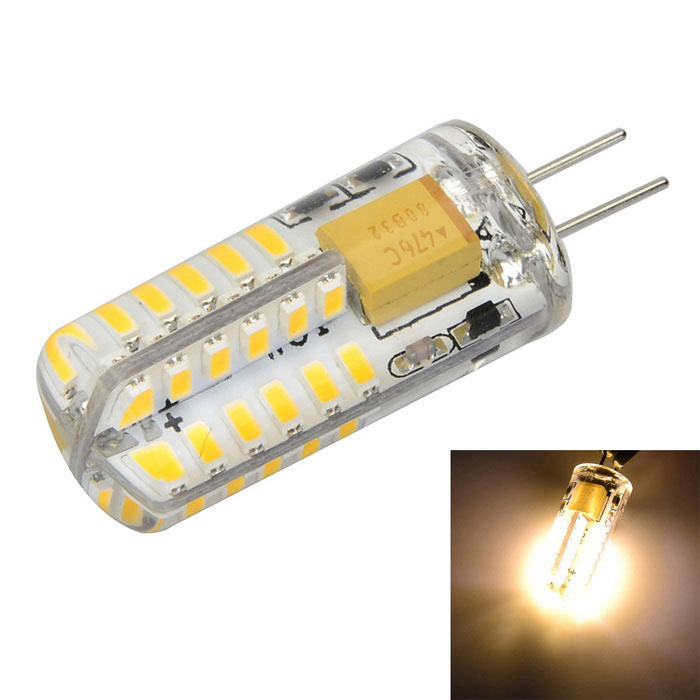 G4 5W 500lm Warm White Light 48-SMD 3014 LED Lamp Bulb (AC / DC 12V)G4<br>Form  ColorWhite + Yellow + Multi-ColoredColor BINWarm WhiteMaterialSilicone + aluminumQuantity1 DX.PCM.Model.AttributeModel.UnitPower5WRated VoltageOthers,AC/DC 12 DX.PCM.Model.AttributeModel.UnitConnector TypeG4Emitter TypeOthers,3014 SMDTotal Emitters48Actual Lumens400~500 DX.PCM.Model.AttributeModel.UnitColor Temperature12000K,Others,3000~3500KDimmableNoBeam Angle360 DX.PCM.Model.AttributeModel.UnitCertificationCE, RoHSPacking List1 x LED bulb<br>