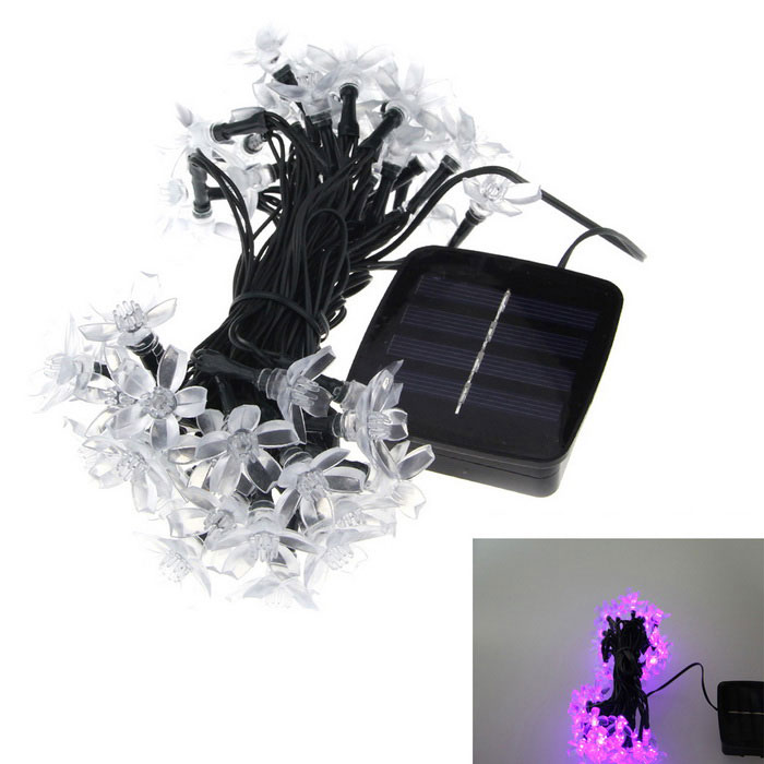 6W Pink Purple 50-LED Solar Powered Light Control Decorative Light