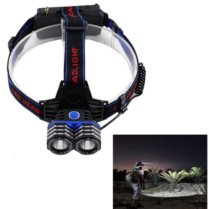 KINFIRE 2-XML U2 LED 3-Mode White Outdoor Headlamp + EU Plug ChargerHeadlamps<br>Form  ColorBlue + Black + Multi-ColoredQuantity1 DX.PCM.Model.AttributeModel.UnitMaterialAluminum alloy+ABSEmitter BrandOthers,N/ALED TypeXM-LEmitter BINU2Color BINCold WhiteNumber of Emitters2Working Voltage   3.6~4.2 DX.PCM.Model.AttributeModel.UnitPower Supply2x18650 2600MAH(included)Current1830~2100 DX.PCM.Model.AttributeModel.UnitTheoretical Lumens1600 DX.PCM.Model.AttributeModel.UnitActual Lumens1100 DX.PCM.Model.AttributeModel.UnitRuntime4~6 DX.PCM.Model.AttributeModel.UnitNumber of Modes3Mode ArrangementHi,Mid,Slow StrobeMode MemoryNoSwitch TypeForward clickySwitch LocationHeadLensGlassReflectorAluminum SmoothBand Length30 DX.PCM.Model.AttributeModel.UnitCompatible Circumference30~55CMBeam Range80~150 DX.PCM.Model.AttributeModel.UnitPacking List1 x Headlight2 x 2600mAh 18650 batteries1 x 110-250V EU Plug charger(cable 35cm)<br>