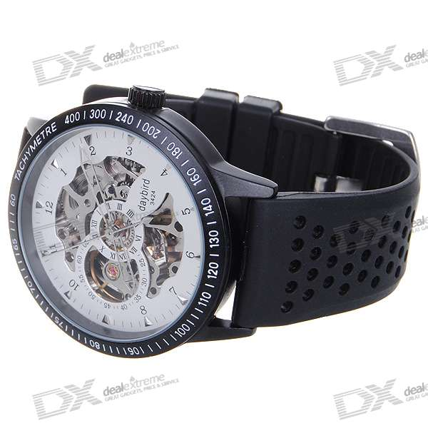 DayBird Stainless Steel Self-Winding Mechanical Wristwatch - Black + White