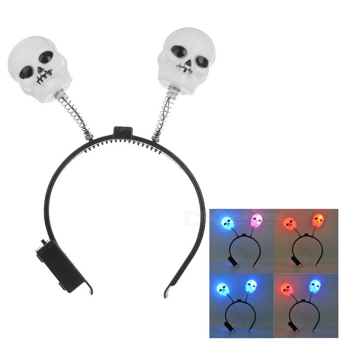 Luminous Skull Style Red + Blue Light Headband for Cosplay - Black