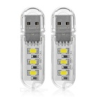 USB Mini Type 1.5W 3-LED Cool White Light Night Lamp - Transparent (2 PCS)
