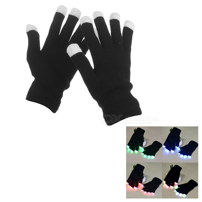 7-Mode Colorful Flashing Gloves - Black (1-Pair)