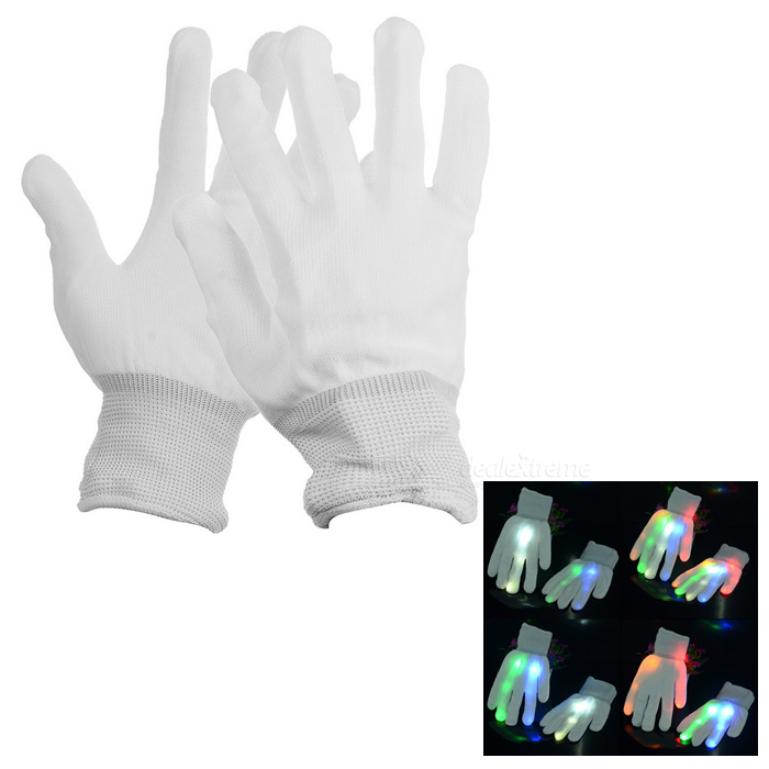 7-Colour LED Flashing-in-Night Gloves - White (1Pair)Halloween Gadgets<br>Form  ColorWhiteMaterialClothQuantity1 DX.PCM.Model.AttributeModel.UnitSuitable holidaysHalloweenPacking List1 x Pair of gloves<br>
