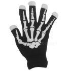 Skeleton Style LED Flashing Gloves for Halloween - White (1Pair)