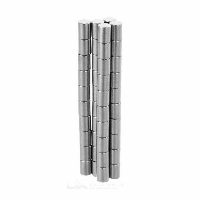 Column Shaped D3*4mm NdFeB Magnets - Silver (50PCS)