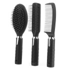 Hairdressing Hair Combs Set w/ Mirror & Stand  - Black + Silver
