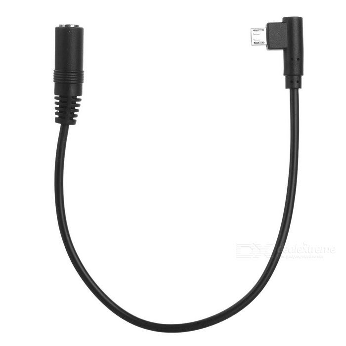 Cwxuan DC 5.5 x 2.1 F to Micro USB M Adapter Cable - Black (28cm)