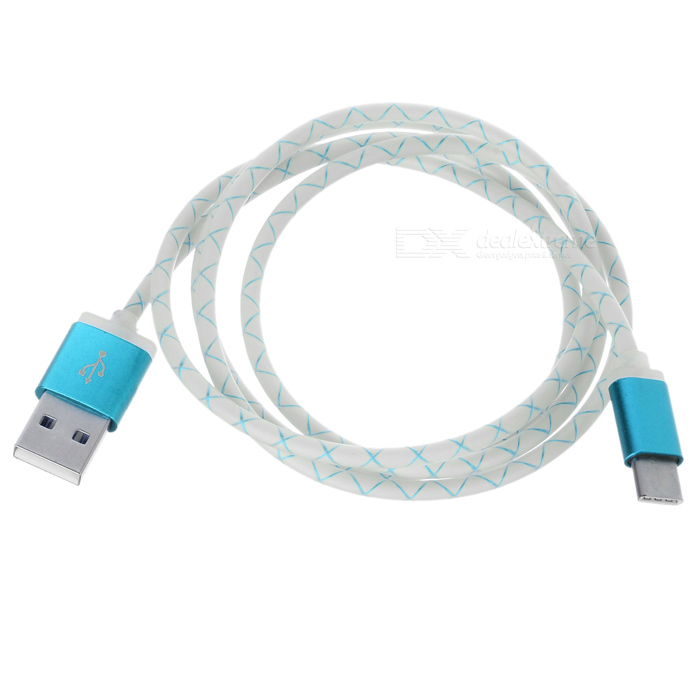 USB 3.1 Type C to USB 2.0 Data Charging Cable - White + Blue (102cm)