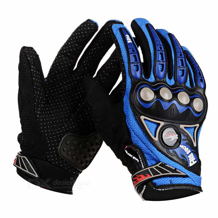 PRO-BIKER Bike Motorcycle Outdoor Cycling Breathable Full-Finger Gloves - Blue (Pair / L)