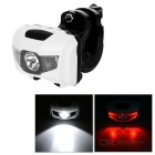 Waterproof 4-Mode 3-LED Bike Headlamp / Taillight Red + Cool White Light - White (3 x AAA)