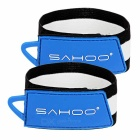 SAHOO Outdoor Bicycle Cycling Rubber Pants / Trousers Tie Belt - Black + Blue (Pair)