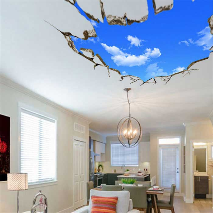 Creative 3d sky style ceiling wall sticker decal blue for Stickers 3d pared