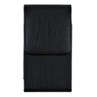 "Universal 4.7"" Lychee Pattern PU Leather Case w/ Metal Clip - Black"