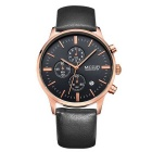 MEGIR Genuine Leather Wristband Men's Sports Quartz Watch w/ 3-Sub Dials - Black + Rosy Gold