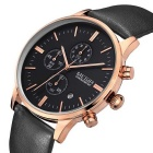 MEGIR Genuine Leather Band Men's Sports Quartz Watch - Black + Golden