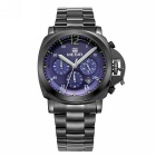 MEGIR Men's Steel Band Analog Quartz Wrist Watch - Black + Blue