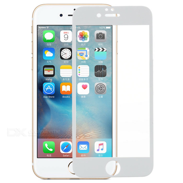 S-What 3D Arch Carbon Fiber + Tempered Glass Screen Protector for IPHONE 6 / 6S - White