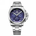 MEGIR Men's Steel Band Analog Quartz Wrist Watch - Silver + Blue