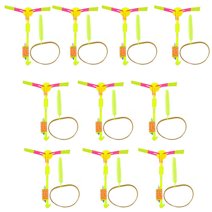LED Light-up Slingshot Helicopter Toys for Kids - Yellow (10PCS)