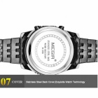 MEGIR 2008 Steel Band Men's Sports Watch w/ 3-Sub Dials-Black + Silver