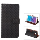 MO.MAT Grid Pattern Flip Open TPU Leather Case for Samsung Galaxy Note5 w/ Stand / Card Slot - Black