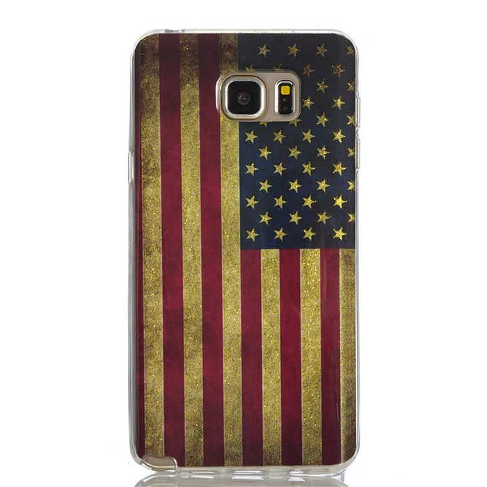 MO.MAT Shimmering US Flag Style Case for Samsung Note 5 - Red + Golden